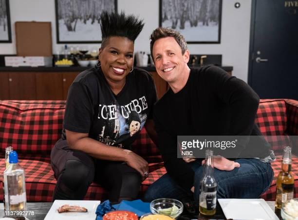 Leslie Jones and host Seth Meyers during 'Game of Jones with Leslie Jones' on April 18 2019