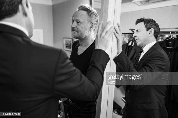 Episode 830 -- Pictured: Host Seth Meyers talks with actor Jared Harris backstage on April 30, 2019 --