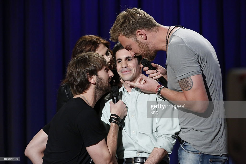 Musical guests Dave Haywood, Hillary Scott, Charles Kelley of Lady Antebellum serenades an audience member on May 8, 2013 --