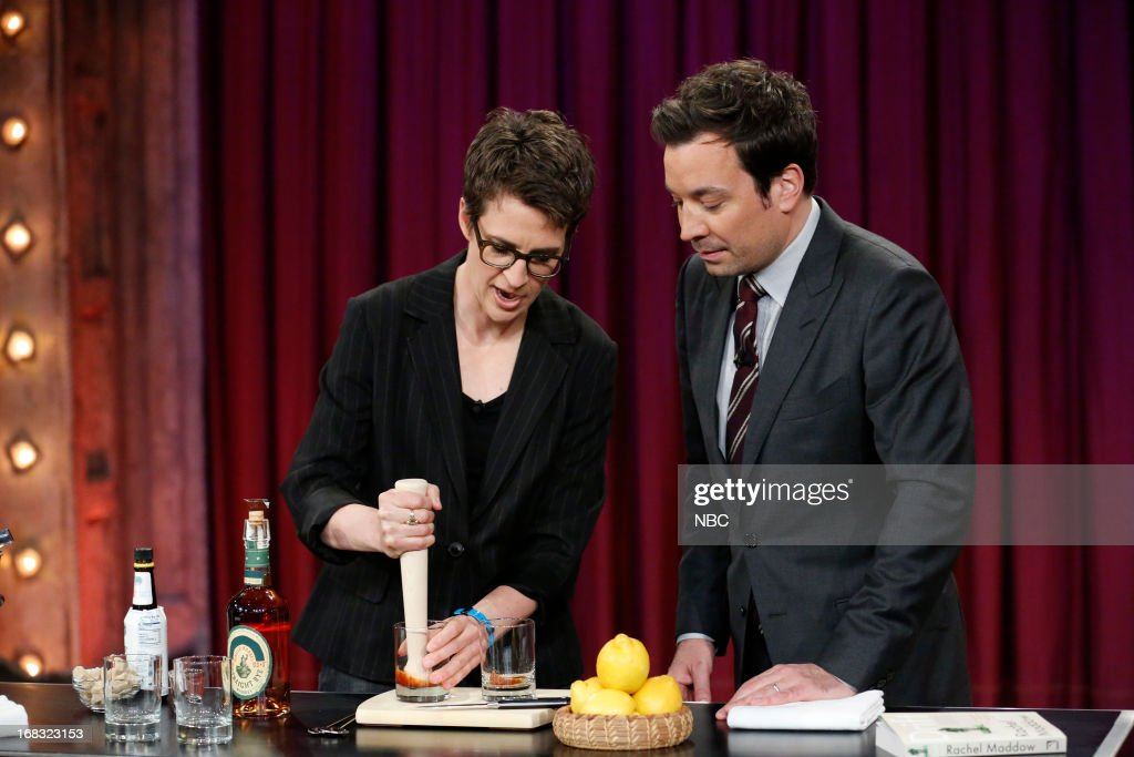 Rachel Maddow with host Jimmy Fallon making cocktails on May 8, 2013 --