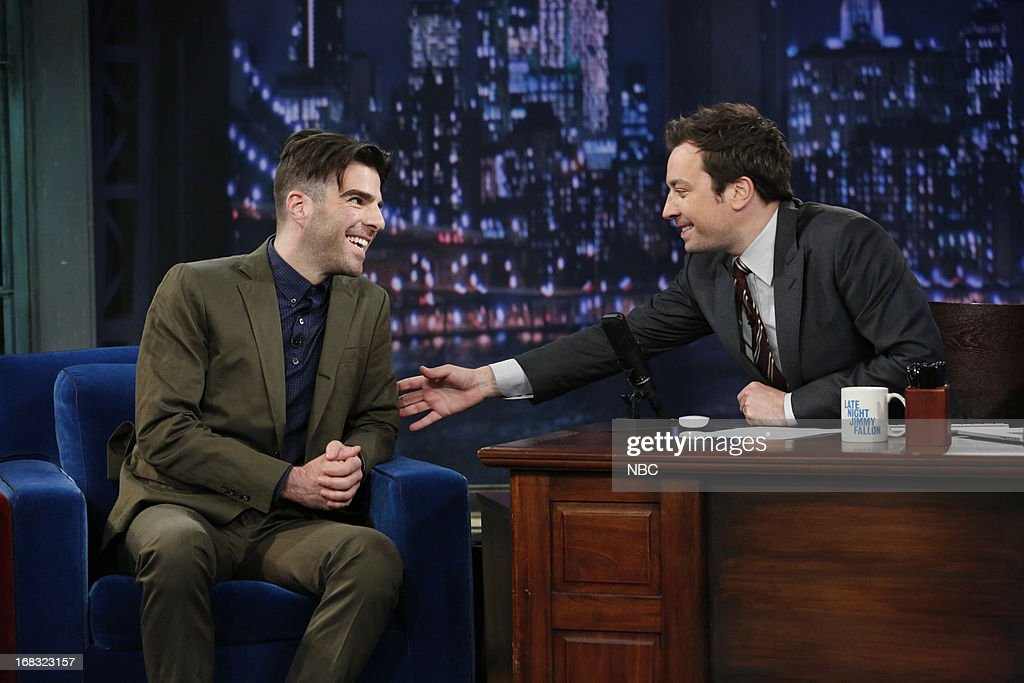 Zachary Quinto with host Jimmy Fallon during an interview on May 8, 2013 --