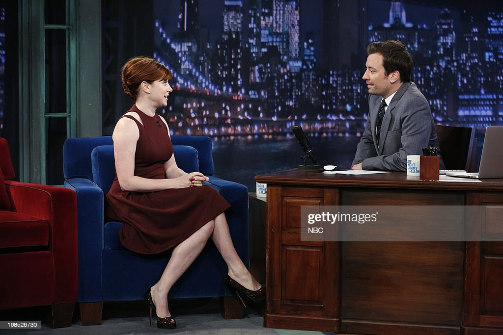 Actress Alyson Hannigan with host Jimmy Fallon during an interview on May 10, 2013 --
