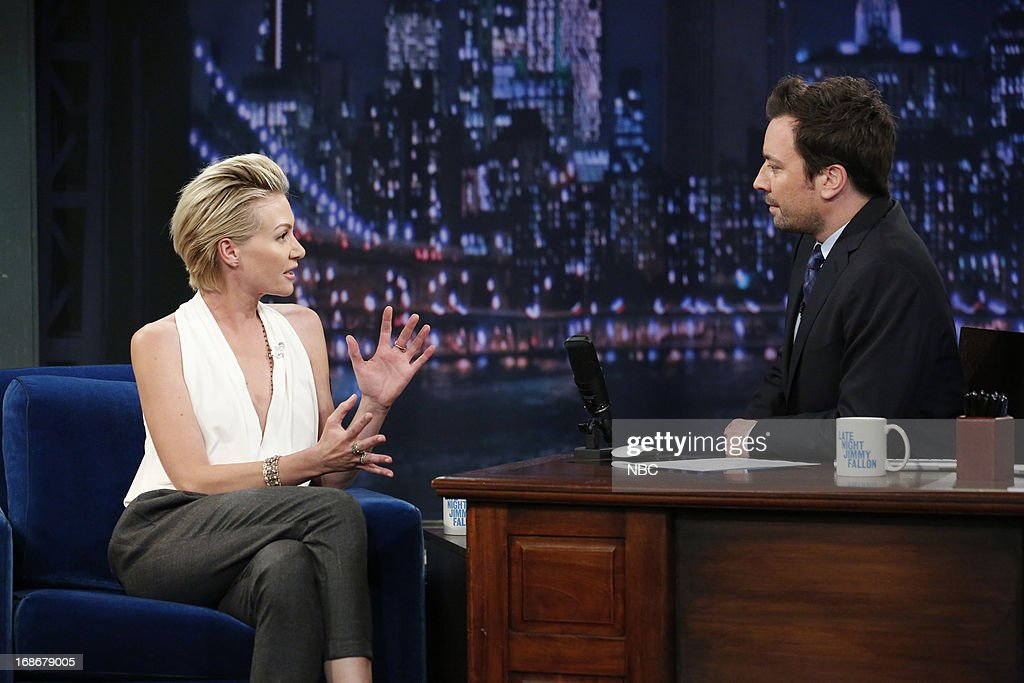 Portia de Rossi with host Jimmy Fallon during an interview on May 13, 2013 --