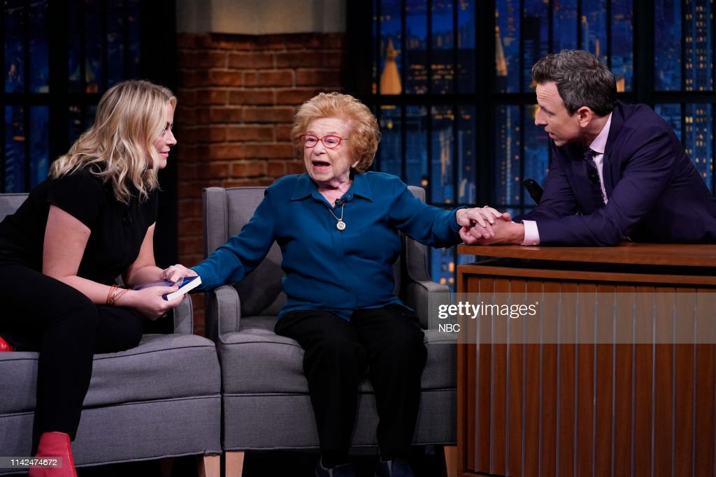 """NY: NBC's """"Late Night with Seth Meyers"""" With guests Amy Poehler, Dr. Ruth Westheimer (Band Sit In: Phillip """"Fish"""" Fisher)"""