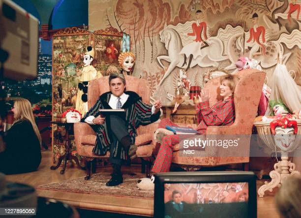 """Episode 839 -- Pictured: Host Jay Leno and talk show host Leeza Gibbons during """"Jay's Fairy Tales"""" sketch on January 4, 1996 --"""