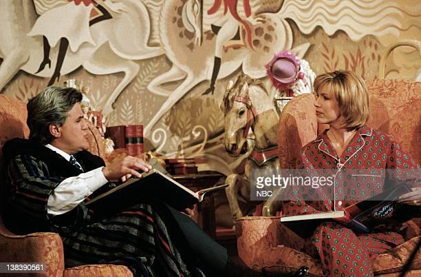 Host Jay Leno with talk show host Leeza Gibbons during Fairy Tales segment on January 4 1996