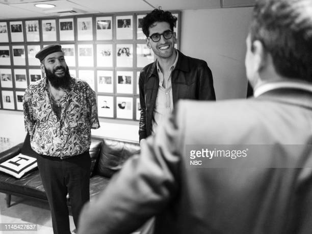 MEYERS Episode 842 Pictured PThugg and Dave 1 of Chromeo talk with host Seth Meyers backstage on May 21 2019