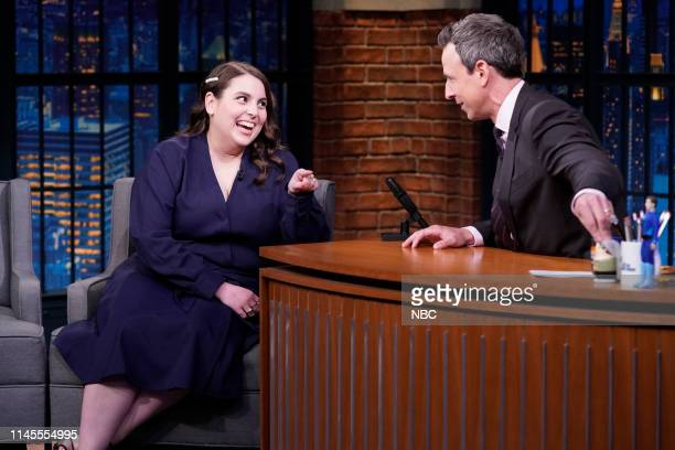 Episode 843 -- Pictured: Actress Beanie Feldstein during an interview with host Seth Meyers on May 22, 2019 --