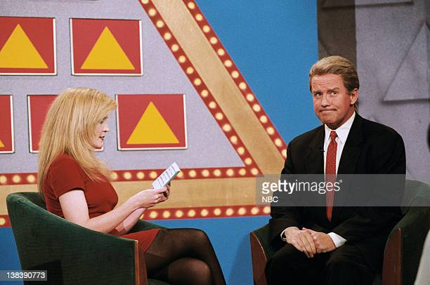 "Episode 844 -- Pictured: Actress Crystal Bernard and comedian Phil Hartman ""Presidental Pyramid"" segment on January 18, 1996"