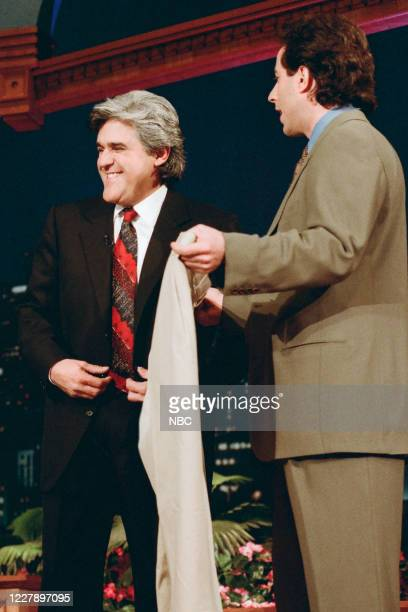 Episode 844 -- Pictured: Host Jay Leno and comedian Jerry Seinfeld on January 18, 1996 --