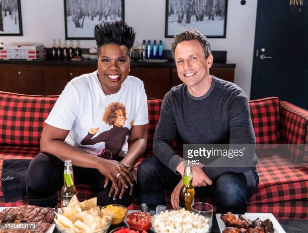 """Episode 844 -- Pictured: Leslie Jones and host Seth Meyers during """"Game of Jones"""" on May 23, 2019 --"""