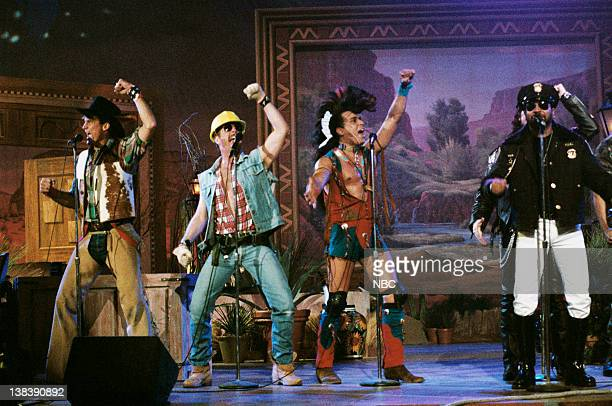 Lead singer Ray Simpson performing with a nonoriginal lineup of disco group Village People on January 25 1996