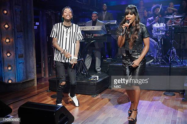Musical guest Wiz Khalifa and Kelly Rowland perform on June 10 2013