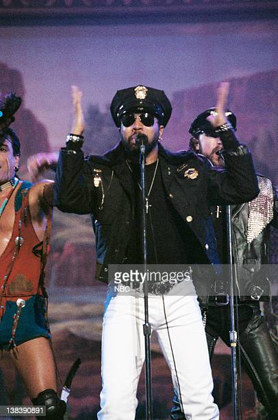 Musical guests the second lineup of American disco group Village People with new lead singer Ray Simpson perform on January 25 1996