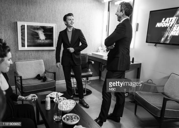 MEYERS Episode 853 Pictured Actor Tom Holland talks with host Seth Meyers backstage on June 25 2019