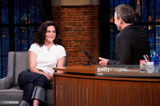 Episode 853 -- Pictured: Actress Jenny Slate during an interview with host Seth Meyers on June 25, 2019 --