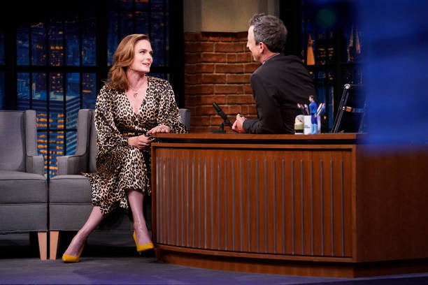 """NY: NBC'S """"Late Night With Seth Meyers"""" With Guests Jesse Eisenberg, Emily Deschanel, Kate Tempest (Band Sit In Raghav Mehrotra)"""