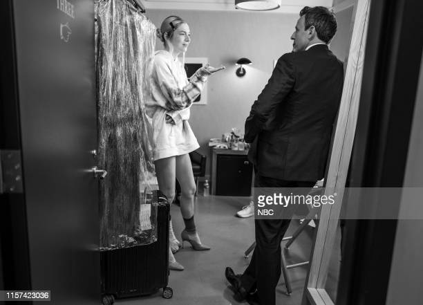 MEYERS Episode 861 Pictured Hunter Schafer talks with host Seth Meyers backstage on July 23 2019