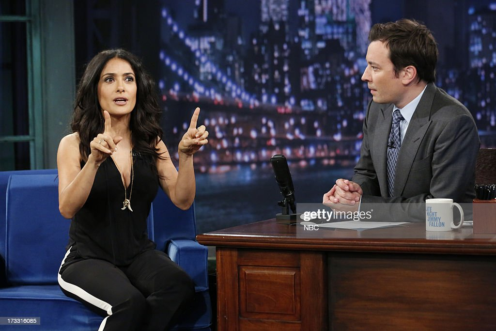 Actress Salma Hayek Pinault with host Jimmy Fallon during an interview on the July 11, 2013 --