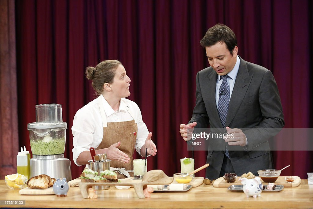 Chef April Bloomfield with host Jimmy Fallon during a demo on July 11, 2013 --