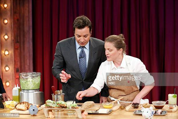 Chef April Bloomfield with host Jimmy Fallon during a demo on July 11 2013