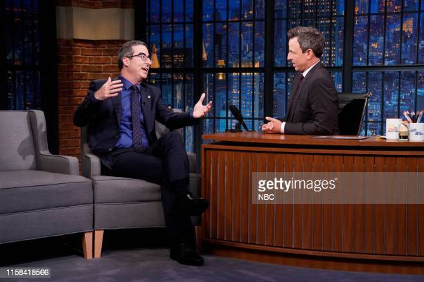 Talk show host John Oliver during an interview with host Seth Meyers on July 29 2019