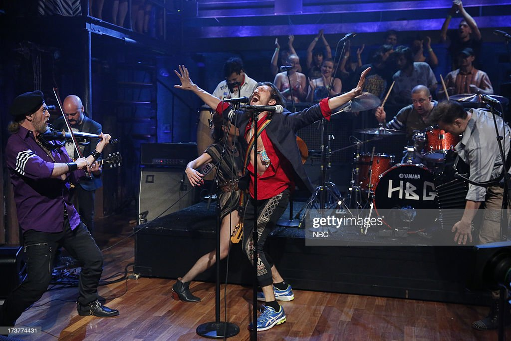 Sergey Ryabtsev, Eugene Hutz of Musical guests Gogol Bordello perform on July 17, 2013 --