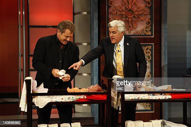 Actor Mel Gibson and host Jay Leno during Earn your Plug segment on January 26 2010 Photo by Justin Lubin/NBCU Photo Bank