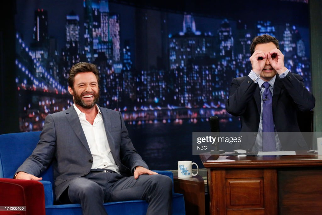 Hugh Jackman with host Jimmy Fallon during an interview on July 24, 2013 -- (Photo by: Lloyd Bishop/NBC/NBCU Photo Bank via Getty Images).