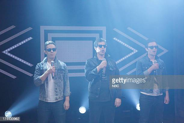 """Episode 871 -- Pictured: """"The Lonely Islands"""" Jorma Taccone, Andy Samberg and Akiva Schaffer during a performance of """"YOLO"""" on July 25, 2013 --"""
