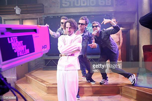 """Episode 871 -- Pictured: """"The Lonely Islands"""" Jorma Taccone, Rob Hugel, Akiva Schaffer and Andy Samberg during a performance of """"YOLO"""" on July 25,..."""
