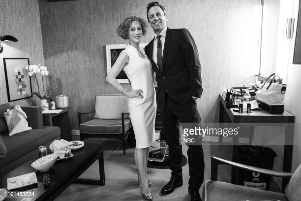 Comedian Kathy Griffin talks with host Seth Meyers on August 13 2019