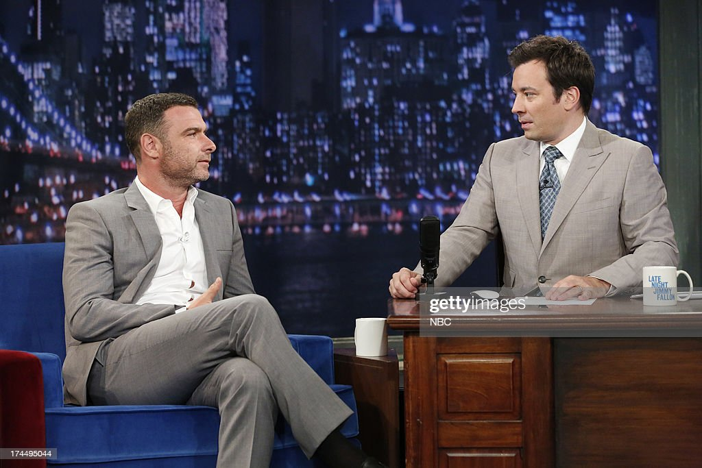 Liev Schreiber with host Jimmy Fallon during an interview on July 26, 2013 --