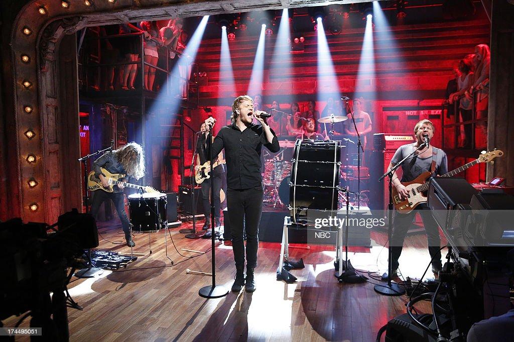 Musical guests Wayne 'Wing' Sermon, Dan Reynolds, Dan Platzman, Ben McKee of Imagine Dragons perform 'Radioactive' on July 26, 2013 --