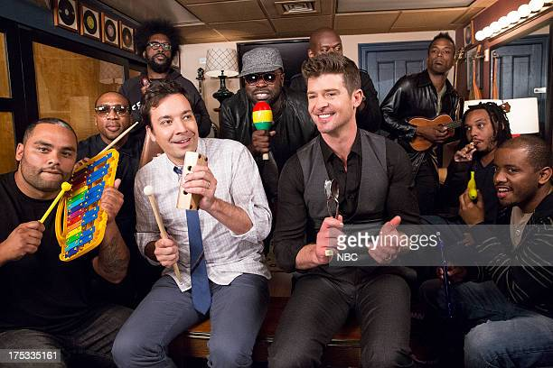 The Roots' Kamal Gray Frank Knuckles Questlove host Jimmy Fallon The Roots' Black Thought singer Robin Thicke The Roots' James Poyser Captain Kirk...