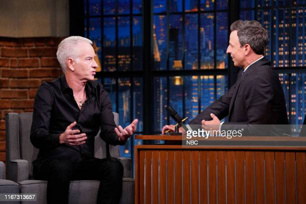 Former tennis player John McEnroe during an interview with host Seth Meyers on September 10 2019
