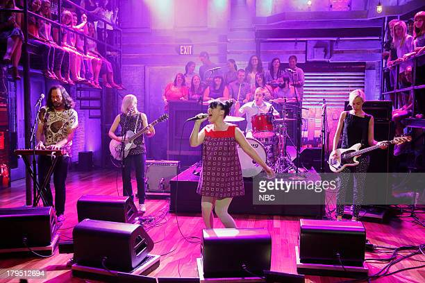 Carmine Covelli Sara Landeau Kathleen Hanna Kenny Mellman Kathi Wilcox of Musical guest The Julie Ruin performs on September 04 2013