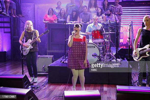 Sara Landeau Kathleen Hanna Kenny Mellman Kathi Wilcox of Musical guest The Julie Ruin performs on September 04 2013