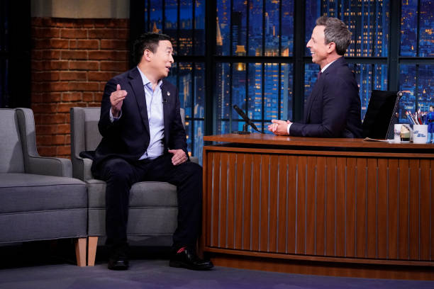 "NY: NBC'S ""Late Night With Seth Meyers With Guests Glenn Howerton, Andrew Yang, Margaret Atwood (Band Sit-In Yesod Williams)"