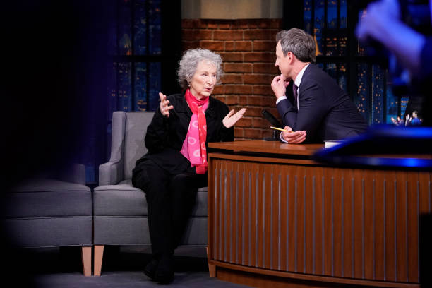 """NY: NBC'S """"Late Night With Seth Meyers With Guests Glenn Howerton, Andrew Yang, Margaret Atwood (Band Sit-In Yesod Williams)"""