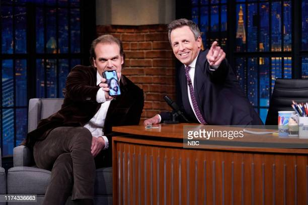 Episode 895 -- Pictured: Actor David Harbour during an interview with host Seth Meyers on October 7, 2019 --