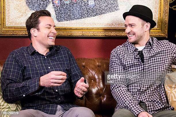 Jimmy Fallon with Justin Timberlake backstage during a skit on September 24 2013