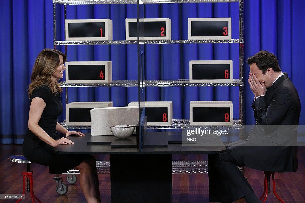 Tina Fey and host Jimmy Fallon play Box of Lies on September 26, 2013--