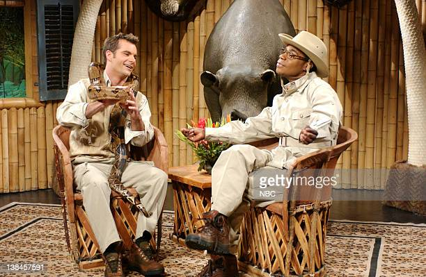 LIVE Episode 9 Aired Pictured Jeff Gordon as Robert Forgey Tracy Morgan as Brian Fellow during 'Brian Fellow's Safari Planet' skit on January 11 2003