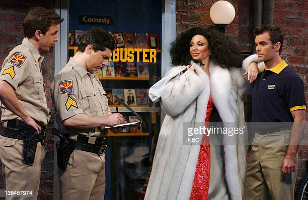 LIVE Episode 9 Aired Pictured Seth Meyers Chris Parnell as police officers Maya Rudolph as Diana Ross Jeff Gordon during 'Access Hollywood' skit on...