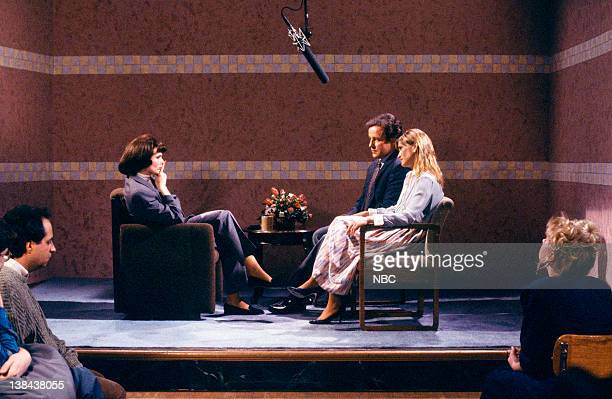 LIVE Episode 9 Aired Pictured Nora Dunn as Denise Venetti Phil Hartman as Len Sather Jan Hooks as Ann Sather during the Learning to Feel skit on...