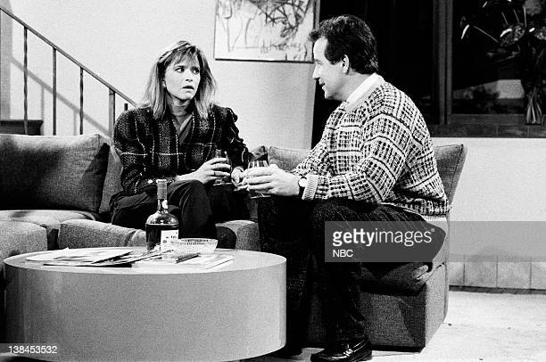 LIVE Episode 9 Aired Pictured Jan Hooks as Leslie and Phil Hartman as Dan during The Honest Man skit on January 24 1987