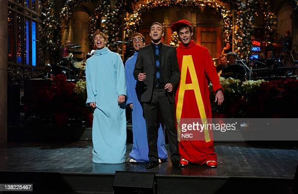 LIVE Episode 9 Aired Pictured Andy Samberg as Theodore Fred Armisen as Simon Justin Timberlake Bill Hader as Alvin during skit on December 16 2006