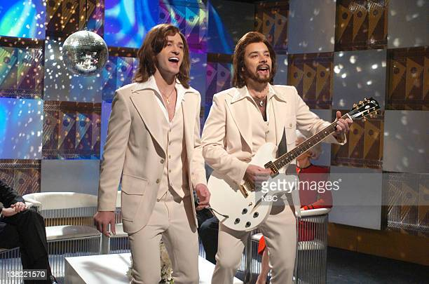 LIVE Episode 9 Aired Pictured Justin Timberlake as Robin Gibb Jimmy Fallon as Barry Gibb during The Barry Gibb Talk Show skit on December 16 2006