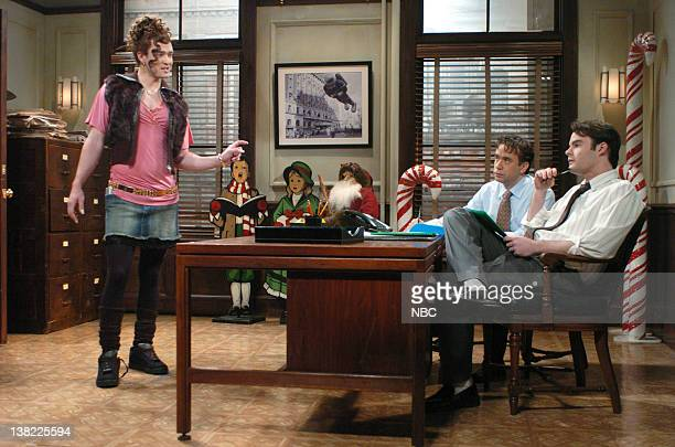 LIVE Episode 9 Aired Pictured Justin Timberlake as Shelby Hastings Fred Armisen as agent Bill Hader as agent during Elf Audition skit on December 16...